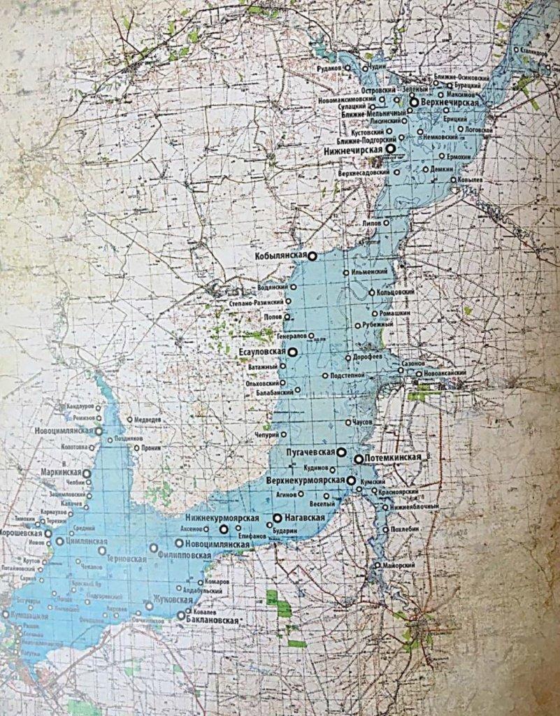 Карта затопленных станиц и хуторов.